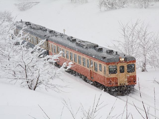 大糸線キハ52と雪の写真(フリー素材)