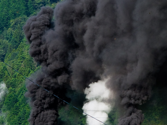SLやまぐち号の煙の写真(フリー素材)